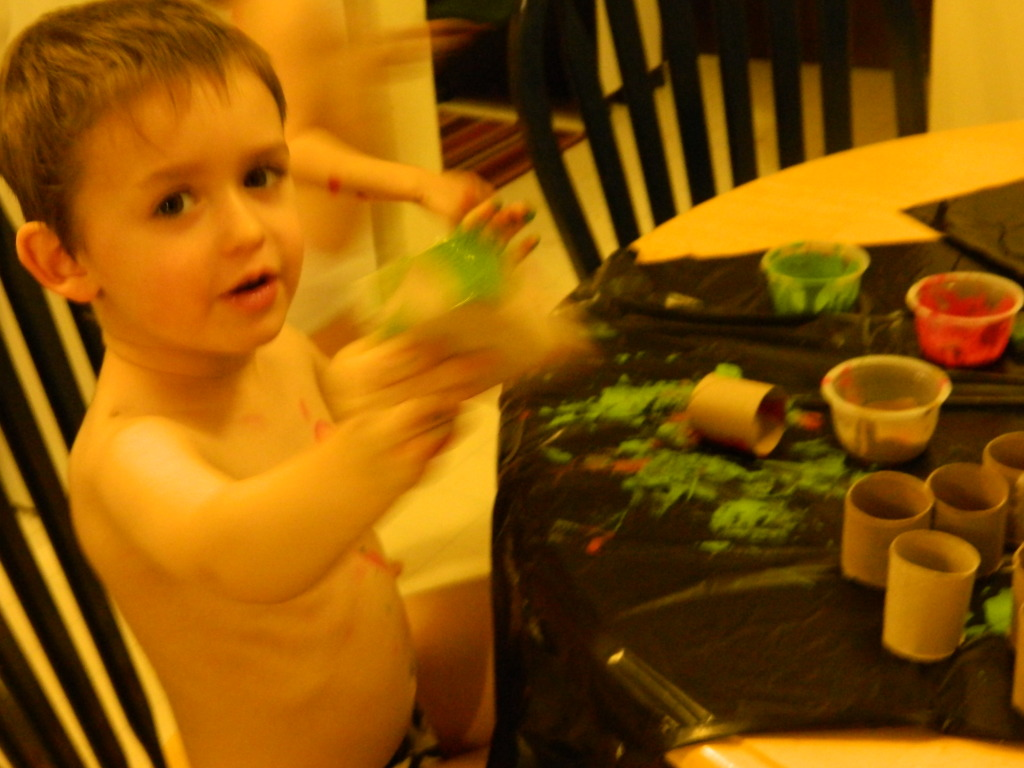 Have your kids paint the toilet paper rolls.