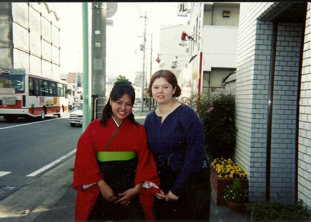 My best friend and I in Japan, on her graduation day. I am over 200 lbs.