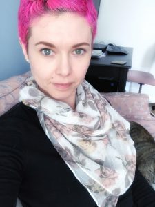 Hello My Name is....Just chilling on my pink couch with my pink hair wearing a pink scarf. Guess my new fave color?